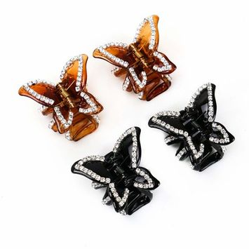 IDS 4Pack Fashion Butterfly Rhinestone Claw Hairpin Hair Clip for Women Girls,Black & Coffee