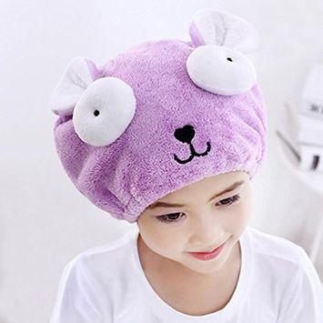 G2PLUS Hair Drying Towel for Kids, Microfiber Absorbent Cartoon Hair Towel Wrap for Children Shower Bath (Purple)