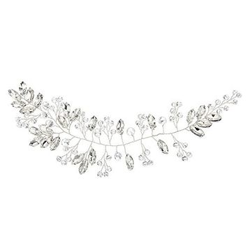 Miallo Wedding Headband 100% Handmade Rhinstone with Crystal Bridal Hair Accessories Bridesmaid Headpieces