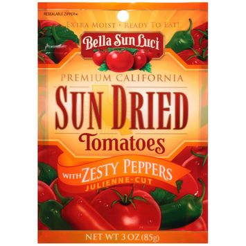 Bella Sun Luci Julienne-Cut Sun Dried Tomatoes with Zesty Peppers, 3 oz