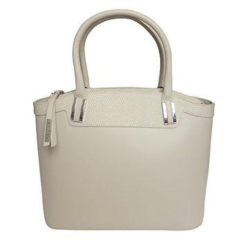 Nicoli 'Eleganza' Designer Italian Leather Tote Bag Wedding Handbag - Cream