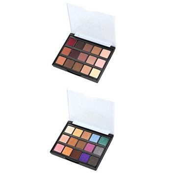 MagiDeal 2 Pieces 15 Colors Natural Shimmer Matte Eyeshadow Palette Eye Shadow Kit