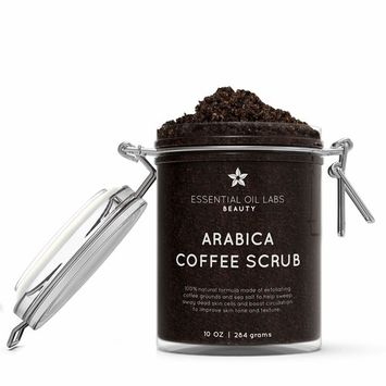 Arabica Coffee Scrub – 100% Natural – With Exfoliating Kona Coffee Grounds, Sea Salt and Sweet Almond Oil – 10 OZ
