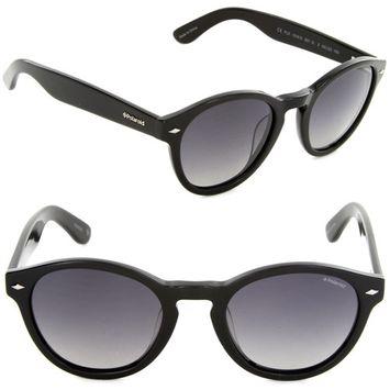 Polaroid PLD1019/S 807-IX Oval Sunglasses Black/Grey Gradient Polarized Lens
