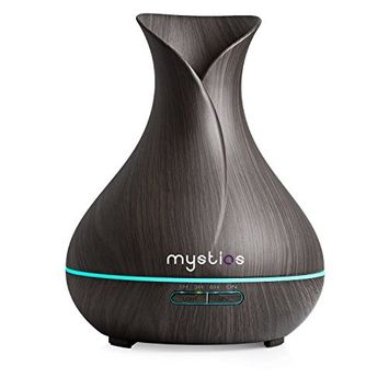 Mystiqs Essential Oil Diffuser, Cool Mist 400ml Ultrasonic Humidifier Wood Grain Calm Your Mood With Lovely Aromatherapy Fragrances Fill Your Home Kitchen...