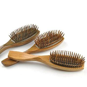 Vinmax Green Sandalwood Massaging Detangling Brush Wooden Teeth Anti-static Hair Comb Wooden Massage Comb with Airbag Wet & Dry Hair Detangler Brush Massager