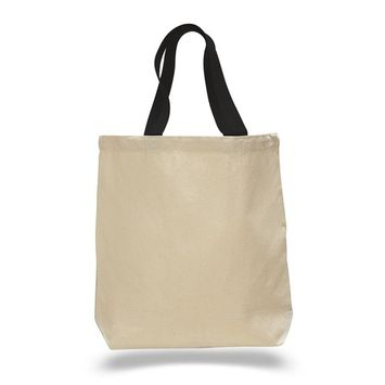 (12 Pack) Set of 12 Cotton Canvas Gusset and Contrasting Handles Tote Bag (Black)