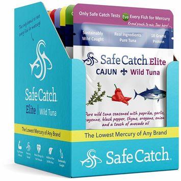 Safe Catch Seasoned Elite, Lowest Mercury Solid Wild Tuna Steak, 2.6 oz Pouch (Variety Pack of 12)