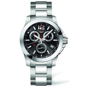 Longines Men's Steel Bracelet & Case Automatic Black Dial Chronograph Watch L37004566