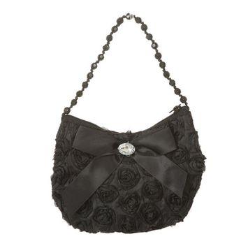 Girls Black Rosette Rhinestone Beaded Handle Ribbon Bow Accent Bag Purse