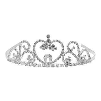 Futuron Girls Silver Sparkle Rhinestone Heart Shape Tiara Headpiece