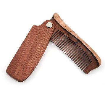 ZY 100% Natural Wooden Folding Comb Beard Goatee Mustache Stash Makeup Tool