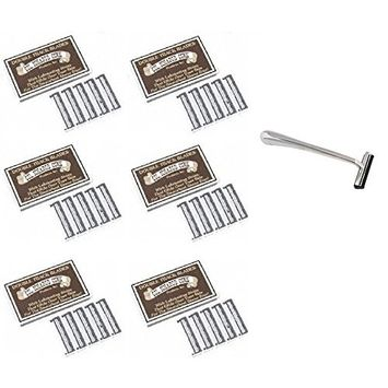 Trac II Chrome Handle + Colonel Ichabod Conk Trac II Razor Blades 10 ct. (Pack of 6) + FREE Travel Toothbrush, Color May Vary