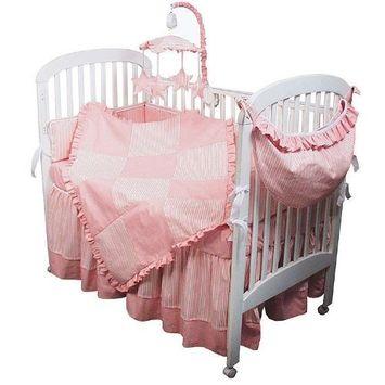 Hoohobbers 4-Piece Crib Bedding, Pink Sherbert