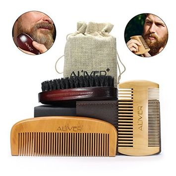 ALIVER Beard Grooming Kit for Men, Beard Bristle Brush and Two Comb Set, With Convenient Small Travel Bag