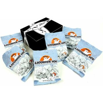 Gustaf's Licorice Ice (Schoolkrijt), 4 oz Bags in a Gift Box (Pack of 6)