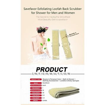 Savefavor Exfoliating Loofah Back Scrubber for Shower _Worth-trying NEW product, LOW price.