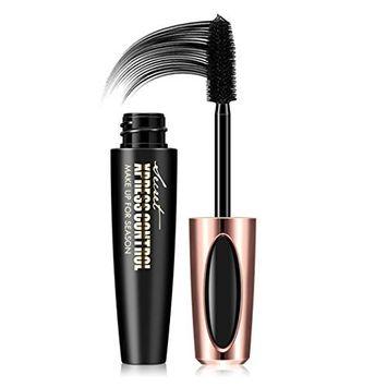 Makeup Lash Washable Mascara,lotus.flower New Long Curling Makeup Eyelash Black Waterproof Fiber Mascara Eye Lashes