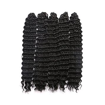 "18"" Synthetic Hair Braids Deep Wave Crochet Braiding Hair (5PCS, 1B#)"