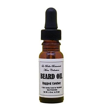 Rugged Cowboy Beard Oil, 14.78 ml - .5 fl oz, With Dropper, Jojoba Beard Oil, Almond Oil, Tea Tree Oil, Cassia Oil, Orange Oil and Other Essential Oils