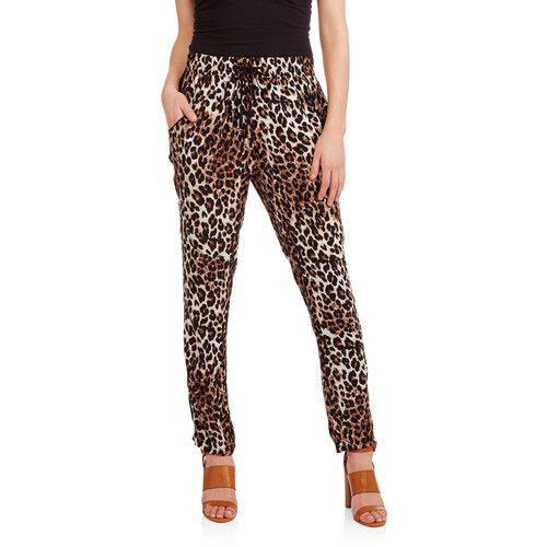 Women's Leopard Pullon Pant with Tuxedo Stripe