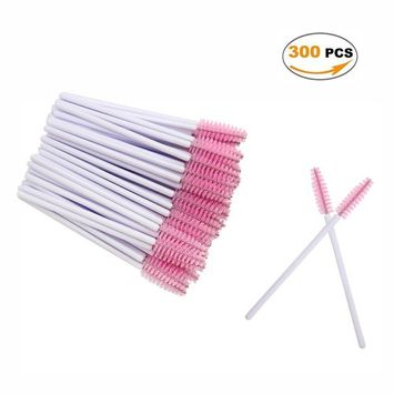 300 Pieces Mascara Wands Bulk Disposable Eyelash Brushes for Extensions Brush Tool Kit,White/Pink