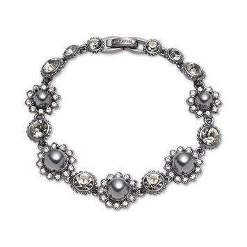 Hematite-Tone Crystal & Imitation Pearl Flower Flex Bracelet