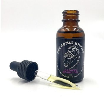 Badass Beard Care Beard Oil For Men - The Royal Knight Scent, 1 oz - All Natural Ingredients, Keeps Beard and Mustache Full, Soft and Healthy, Reduce Itchy, Flaky Skin, Promote Healthy Growth [The Royal Knight Scent]