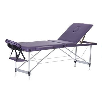 3 Section Folding Massage Table Bed Portable SPA Tattoo Salon Bed with Armrest Aluminum Frame (24'' Width, Purple)