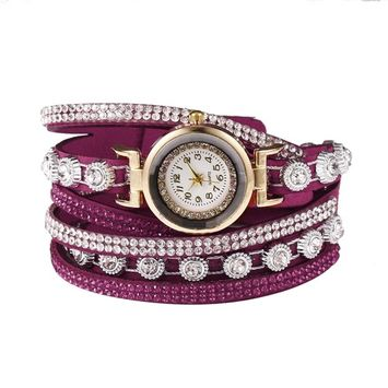 Unbrand - Women Fashion Casual Decor Round Rhinestone Bracelet Watch TOYS2 [name: actual_color value: actual_color-rosered]