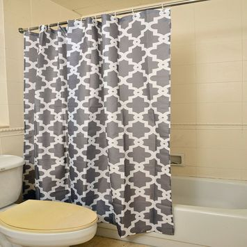 Gray 100% Polyester Waterproof Geometric Patterned Shower Curtain for Bathrooms Set