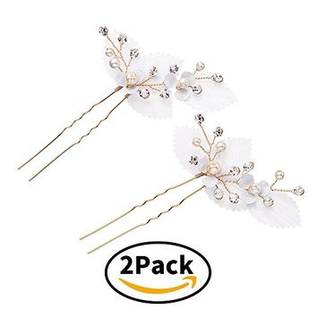 Miallo Wedding Hair Pins Handmade Pearls flora Bridal hairpieces(Pack of 2)
