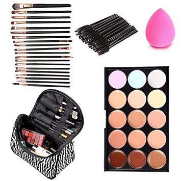 Eshion 70pcs Makeup Brush Set+Concealer Palette+Puff Sponge+Makeup Bag Makeup Set
