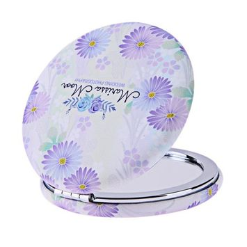 Jocestyle Portable Metal Folding Makeup Mirror Round Double-sided Cosmetic Mirror