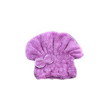 Terry Microfiber Headwrap headband hood Hair Turban Hair Fast Drying Towel Bath Head Wrap Quick Dry Shower Cap for Lady Girl and Women (Purple)