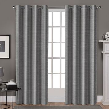 Exclusive Home Whitby Metallic Slub Yarn Textured Silk Look Window Curtain Panel Pair with Grommet Top