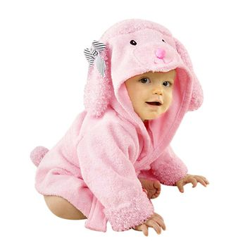 Baby Bath Towels, Coxeer Toddler Infant Cute Dog Towel Bathrobe with Hood for Baby Kids(Pink)