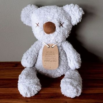 Big Hugs Huggie Bear made of the most divinely soft fabric possible to bring comfort and style to the little one in your life