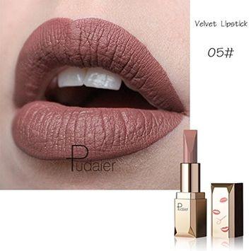 Rockrok Pudaier Matte Fog Face Velvet Lipsticks Permanent Waterproof Long lasting Lip Beauty