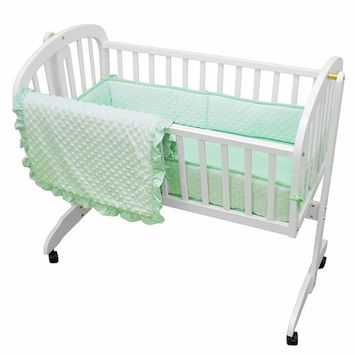 American Baby Company Heavenly Soft Minky Dot 3-Piece Cradle Bedding Set for Baby Girl & Baby Boy, Mint