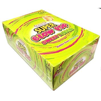 Charms Super Blow Pops Sweet & Sour 48 Pack - Bubble Gum Filled Lollipops