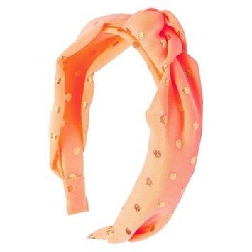 Ta-da™ Girls' Fabric-Knot Headband Coral Gold Polka Dot 1 ct