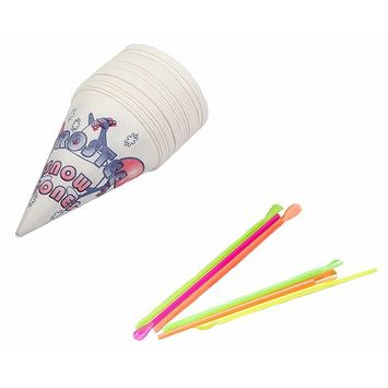 Perfect Stix Snow Cone-Straws- 100 Snow Cone Cups and Assorted Neon Straws (100 Count of Each) (Pack of 200)