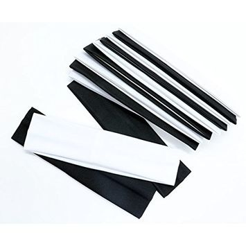 IDS 12pcs Wide Stretchy Cotton Yoga Headband Elastic Stretch Headbands, Black, White