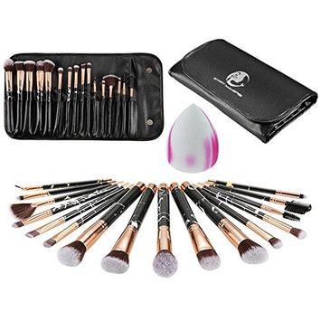 aliveGOT 16 pieces Makeup Brush Set tool Professional Face Powder Brush Eye Shadow Eyeliner Foundation Brush Lip Makeup Brushes Powder Liquid Cream Cosmetics Brush Tool With Brush Bag and Puff