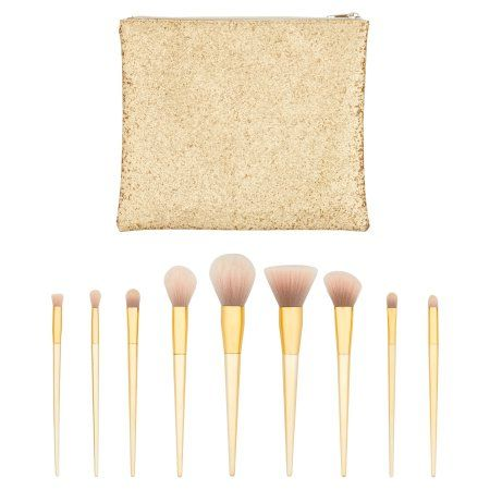 Longtian Intl Co Make Up Brush Collection with Travel Bag, 10 pc