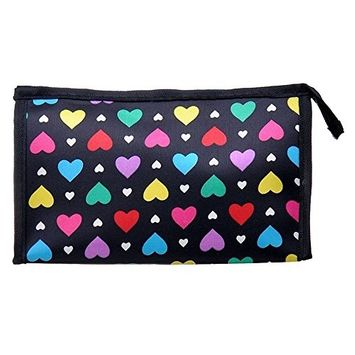 SODIAL(R) Cute Colorful Love Heart Polyester Comestic Makeup Storage Travel Bath Organizer Bag,Black