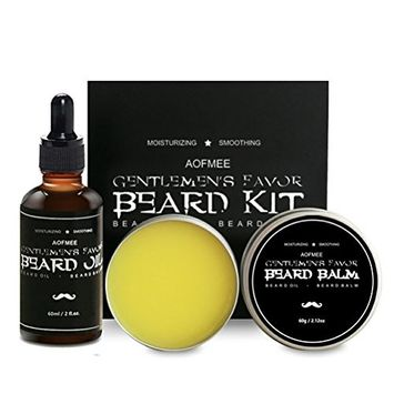 Aofmee Beard Oil and Balm Kit for Moisturizing, Taming, Strengthening & Growth - Men's Beard Care Grooming Gift Set for Dad, Husband, Boyfriend, Friends - 2 fl.oz & 2.12oz