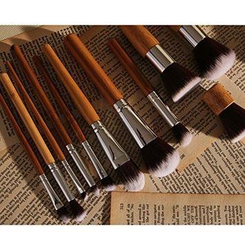 Pro 11Pcs Natural Bamboo Handles Super Soft Makeup Brush Set Cosmetic Blending