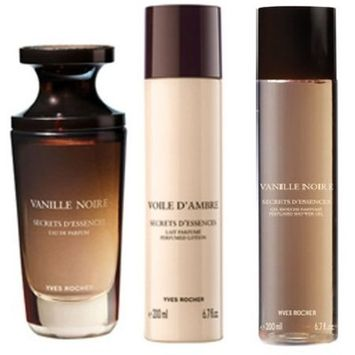 Yves Rocher Vanille Noire 3-piece Gift Set for Women: Vanille Noire Eau de Perfume, 50 ml/ Perfumed Body Lotion, 200 ml& Body Shower, 200 ml. VERY HARD TO FIND.